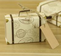 maleta mini tarjeta al por mayor-NUEVA Mini Caja de Dulces Creativa Caja de Dulces Caja de Regalo de Boda Caja de Regalo de Boda Suministros de Fiesta de Boda favores de Boda con Tarjeta