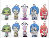 Wholesale Making Out Hot - Hot!100pcs Mix Color Cartoon inside out Ppopular Metal Charms Pendants DIY Jewellery Making Accessories 2.8cm