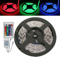 Wholesale M Bulb - 5M RGB LED Strip Light Flexible 3528 SMD Non Waterproof DC 12V +IR Remote Controller + 2A Power Supply Stage Party Bulb Christmas Gifts
