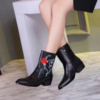 Wholesale skull shaped glitter for sale - high quality u745 black genuine leather skull rose embroidery flat boots fashion runway autumn biker rocker