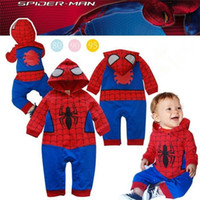Wholesale Boys Superman Halloween Costumes - Summer Newborn Costume Baby Rompers Superhero Superman spiderman Cotton Baby Boy Girl Rompers Newborn Baby Clothes