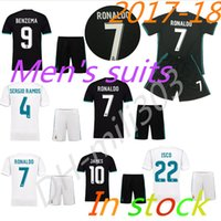 Wholesale Soccer Jerseys Uniforms Football - Thai quality 2017 2018 Real Madrid Home white Soccer Jersey kit 1718 Away black soccer shirt Ronaldo Bale Football uniforms Asensio SERGIO