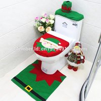 Wholesale Toilet Ornaments - Wholesale-3pcs set Santa Claus Toilet Seat Cover Bathroom Four Sets Rug Christmas Cartoon Decorations for Home Papai Noel Navidad x003
