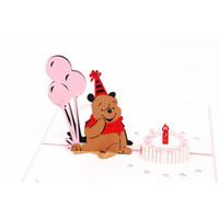 teddy rosa zum geburtstag großhandel-Rosa Teddybär brithday Kartenliebe knallen oben Grußkartengeburtstagseinladungen Parteiversorgungen freies Verschiffen