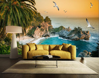 Wholesale back roll painting - Photo Customize size Fantastic beauty beautiful sea view scenery scenery TV wall decoration painting