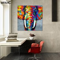 ingrosso elefanti astratti di olio astratti-Arte decorativa 100% Handmade Animal Oil Painting Pitture murali su tela Abstract Colorful Elephant Picture Living Room Home Decor
