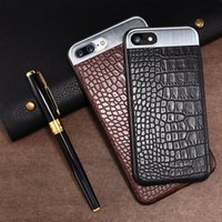 Wholesale Iphone Crocodile Leather Luxury - Luxury PU Leather Phone Case For iPhone X 6 6S 7 Plus Crocodile Stripe Metal Stitching back cover Phone Shell For iPhone 6 6S 7 Plus