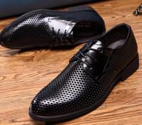 Wholesale Black Hole Office - 2017 Sales promotion men shoes Cool Hollow out breathable mens dress shoes Hole hole shoes