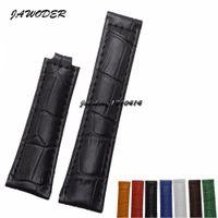 ingrosso cinturino bianco-JAWODER Cinturino 20mm Uomo Donna Marrone Verde Blu Nero Arancione Bianco Rosso Coccodrillo Linee cinturino cinturino in vera pelle per Rolex 116610LV