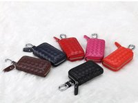 Wholesale Leather Key Chain Hook - Woven car key case genuin leather with metal hook and alloy keychain key holder ziper bag