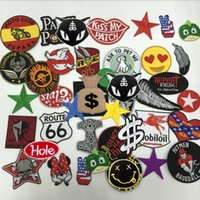 Wholesale Iron Numbers Wholesale - Hot Iron Badge Embroidery Patch 24pcs Cloth Decoration Label Mix model National Flag Number Assorted Random Shipments