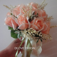 Wholesale Peach Wedding Bouquets - Real Photo Hot Peach Rose Bridal Bouquet 18 Flowers Bridal Throw Flower Green Leaves Wedding 100% Handmade Bridesmaid Bouquet with Ribbons
