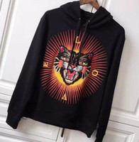 Wholesale Leopard Hooded S - Luxury Fashion Winter Leopard Hoodie Men Hooded Sweatshirts Brand Men Coats Pullover Jackets Womens Warm Hoodies S-XXL Black