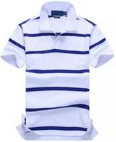 weißes pferd gut großhandel-Gute Qualität Neue POLO Shirt Männer Baumwolle Mode Farbe gestreiften camisa polos Kleine Pferd Druck masculina de marca Sommer Casual Shirts Weiß