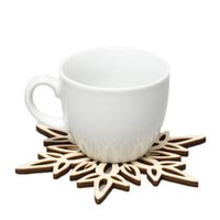 Wholesale Tea Coasters Designs - Wooden Snowflake Mug Place Mats Coasters Holder Table Mat Table Pad Home Chic Drinks Coffee Tea Cup Mat Decor Mats 6 Designs Mats Pads 405