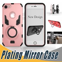 Wholesale Apple Rugged Protection - For iphone 7 Rugged Hybrid Dual Layer Protection Case Ring Kickstand Cases Cover For iPhone 6 6S 7 Plus Huawei Mate 9 P10