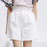 Wholesale Wholesale Women High Waist Shorts - Wholesale- White Jeans Shorts Women 2017 Summer Korean Vintage Casual Ripped Tassel Wide Leg High Waist Denim Shorts Blue jeans femme B144
