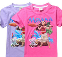 Wholesale Kid Girls Fashion Tops - Moana Girls Cartoon T-shirts 2017 Summer Kids Tops Short Sleeve MOANA t shirts Cotton Tops Kids Summer Clothing Baby Clothes 731