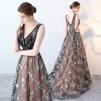 Wholesale Star Model Dress - Evening Dress Elegant Black Deep V Neck Sleeveless Zipper Back A Line Sweep Train Lllusion Tulle Lace Embroidery Stars Party Prom Dress