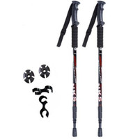 Wholesale 2Pcs Anti Shock Nordic Walking Sticks Telescopic Trekking Hiking Poles Ultralight Walking Canes With Rubber Tips Protectors