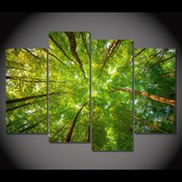 Wholesale Abstract Sky Painting Canvas - 4 Piece Canvas Painting Look Up Sky Tree HD Printed Canvas Art Prints Wall Art Home Decor Poster Pictures for Living Room XA206B
