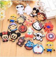 Wholesale Cute Cross Ring - Cartoon cute lovely Hero Style PVC Car Keychain Key Chain Ring Bag Pendant 20pcs