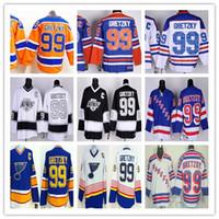 Wholesale green ranger spandex - Edmonton #99 Wayne Gretzky Hockey Jersey CCM St. Louis Blues Los Angeles Kings New York Rangers Vintage Blue Orange White Black