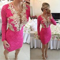 Wholesale Sexy Dressess - Hot Pink Lace Short Cocktail Dresses Prom Dressess 2017 Long Sleeves Sheer Back Short abendkleider robe de Celebrity Short Dresses