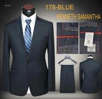 Wholesale Slim Fit Work Suit - Men Business Suits Blue Coffee Slim Fit 2-piece Formal Working Business Office Uniform Blue Latest Coat and Pants Suit Blazers Dropship