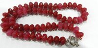 "Beaded Necklaces Middle Eastern Women's Free Shipping >>>>6x10MM Natural Faceted Red jade Abacus Beads Necklace 18""AAA"
