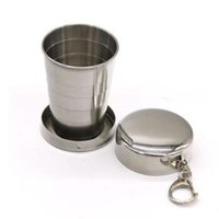Wholesale Picnic Folding Cups - 75ml Portable Stainless Steel Folding Drinking Wine Cup Mug for Outdoor Travel Picnic Key Chain Collapsible Telescopic Cup CCA6977 300pcs