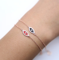 Wholesale Sterling Silver Bracelet Connectors - 16+5cm dainty delicate black red enamel micro pave cz cute eye shape evil eye charm connector 925 sterling silver eye bracelet