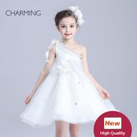 Wholesale One Shoulder Flower Dresses - one shoulder dress china products wholesale online white flower girl dresses high quality party dresses for children