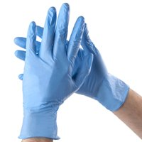 Wholesale Nitrile Gloves Blue - 100pcs Lot 9 inch Nitrile Disposable Gloves Powder Free Non Latex Experiment Cleaning Blue S M L ZN0940B