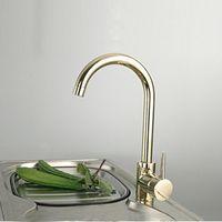 Wholesale Color Basin Faucet - Wholesale- Contemporary contracted 100% Copper hot and cold kitchen faucet gold color sink vegetables basin mixers taps 1pcs lot