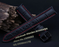 Wholesale Crocodile Watchband - atches Accessories Watchbands Leather watchband 18 20mm 22mm NEW Men High quality Genuine Leather Black Crocodile Grain Red Stitch Watch ...