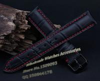 Wholesale 22mm Genuine Crocodile Watch Strap - watch band strap Leather watchband 18 20mm 22mm NEW Men High quality Genuine Leather Black Crocodile Grain Red Stitch Watch Band Strap
