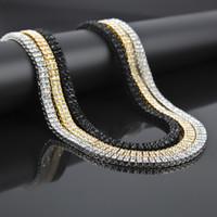 Wholesale Toggle Clasp Link Necklaces - Men Zinc Alloy 2 Rows AAA RhineStone Necklace Bracelet Hip Hop Chain Bling Rock Punk Jewelry Set