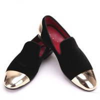 Wholesale Metal Cap Shoes - New style front and back metal cap men velvet shoes Fashion Pointed Toe Men Loafers wedding and party noble slip on men's flat