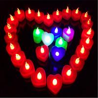 velas accionadas por batería led al por mayor-Velas LED de cera luz sin llama Luz con pilas Batería Fiesta de cumpleaños Decoración navideñaLED Corazón Vela Luz nocturna Romántico