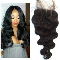 Wholesale lace front part closure - G-EASY body wave lace closure brazilian virgin hair lace front closure piece free middle part curly human hair closure