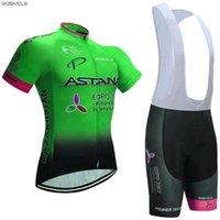 Wholesale Cycling Jersey Bib Shorts Astana - 2017 Green ASTANA cycling jersey 3D gel pad bibs shorts Ropa Ciclismo quick dry pro cycling wear mens summer bike shirt bottom