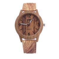 Wholesale Imitation Designer Watches - New Brand Designer New Imitation Wood Grain Leisure Watch Men Women Leather Strap Quartz Movement Digital Display Watch Wholesale