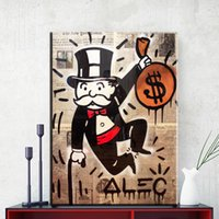 Wholesale Money Digital - ZZ1109 Graffiti Canvas Art Alec Monopoly Man With one pocket money Art Print Canvas for Wall Art Home Decoration Wall Paintings unframed