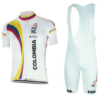 Wholesale cycling jerseys shipping - Free Shipping New white Colombia cycling jersey 3D gel bike shorts suit quick dry team pro bike jersey mens summer cycling wear