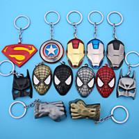 yeni süpermarket yüzüğü toptan satış-Yeni Amerikan Kaptan Kalkanı Anahtarlık Avengers Superman Süper Kahraman Batman Anahtarlık Halka anahtarlık Moda Aksesuarları WX-K02