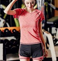chica sexy top ajustado al por mayor-Nueva Sexy Girl GYM Sport Suit Compression Fitness traje Medias Entrenamiento Top Sportswear Leggings Yoga Chandal de mujer