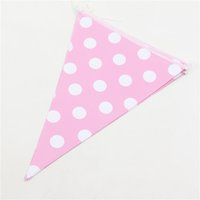 Wholesale Banners Lighted - Wholesale- 2.5 Meter kids birthday Backdrop decoration colorful Dot Paper Banners light pink Flags for Wedding Birthday Party & theme par