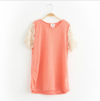 Wholesale Summer Shorts Teenagers - Teenager Crochet Lace T-shirts Junior Fashion Knit Jumper Tees Big Babies Summer Tops 2017 childrens clothing