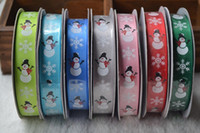 Wholesale Santa Christmas Yard - Width 15mm Snowman Santa Christmas Festival Printed Grosgrain Ribbons 25 Yards = 1 Piece For Party Home Craft Gift DIY Decoration